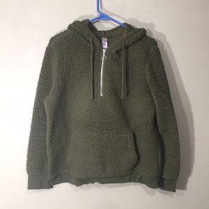 Olive green fleece pullover